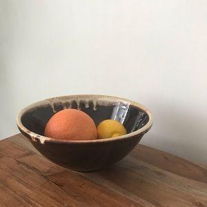 Vintage Kitchen - Deep Brown Glazed Stoneware Serving Bowl